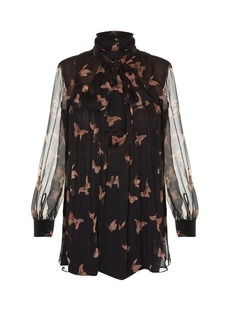 Alexander McQueen High-neck moth-print silk-crepon blouse