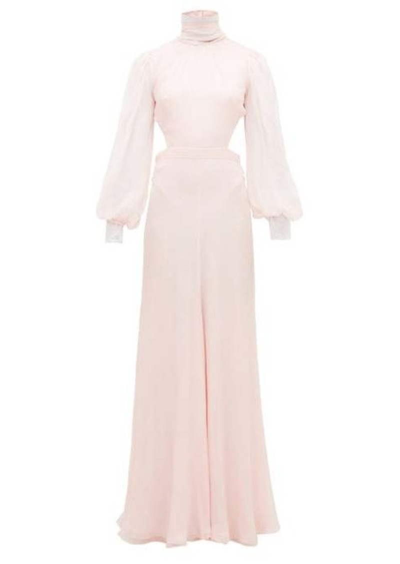 Alexander McQueen High-neck open-back silk-chiffon gown