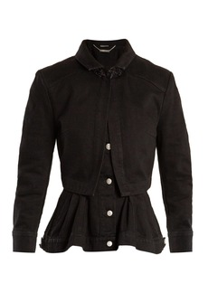 Alexander McQueen High-neck peplum-hem denim jacket