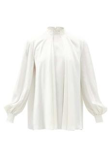 Alexander McQueen High-neck pleated silk-satin blouse