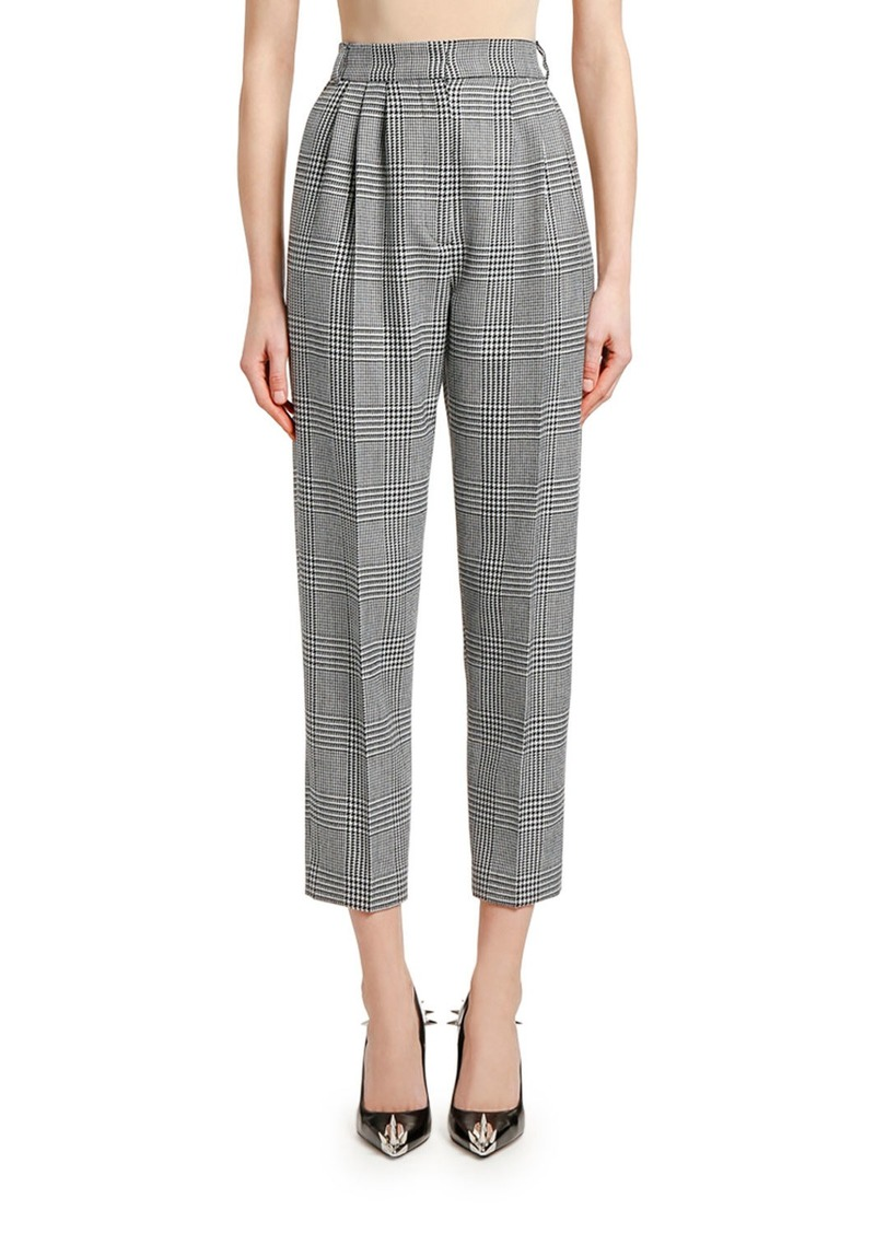 Alexander McQueen High-Rise Prince of Wales Check Ankle Pants