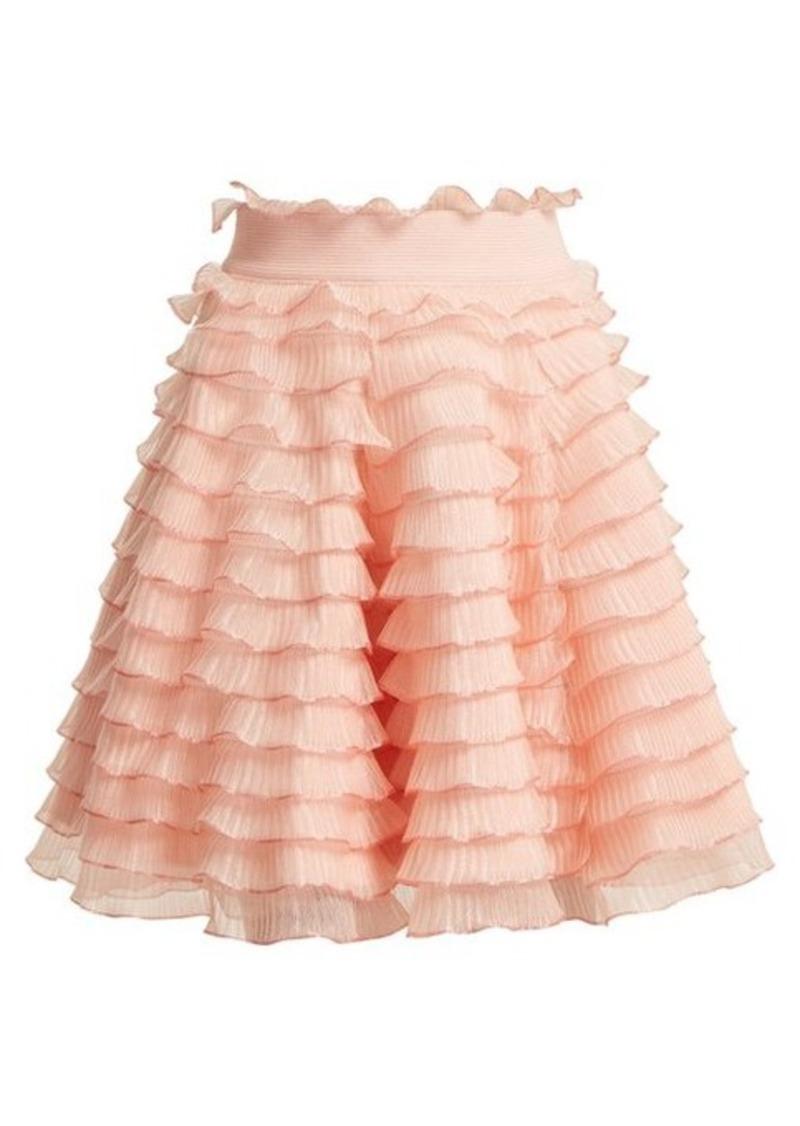 Alexander McQueen High-rise ruffled-detailed tiered skirt