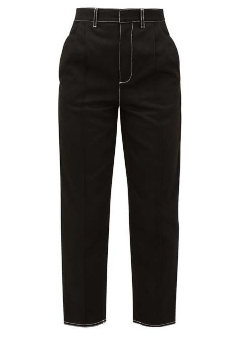 Alexander McQueen High-rise topstitched-cotton jeans