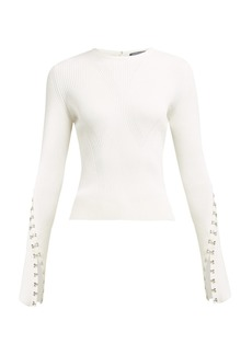 Alexander McQueen Hook and eye-sleeve ribbed sweater