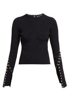 Alexander McQueen Hook and eye-trim ribbed sweater