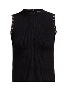 Alexander McQueen Hook-embellished ribbed knit top