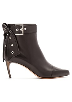 Alexander McQueen Horn effect-heel leather ankle boots
