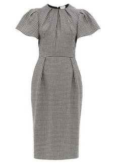 Alexander McQueen Houndstooth puffed-sleeve wool midi dress