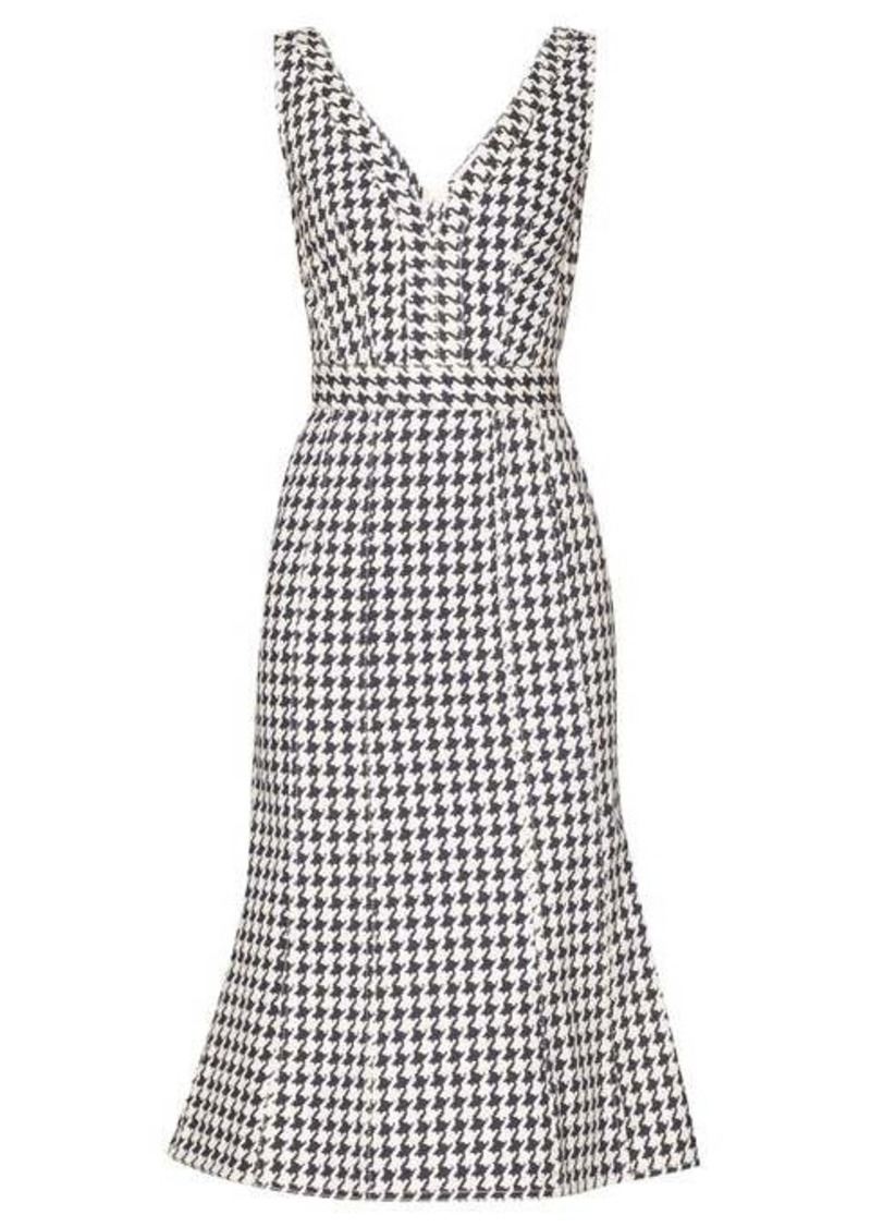 Alexander McQueen Houndstooth V-neck denim midi dress