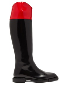 Alexander McQueen Hybrid patent-leather knee-high boots