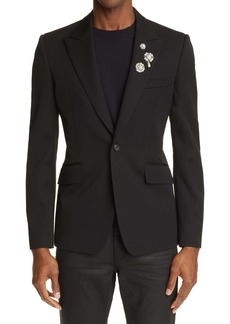 Alexander McQueen Imitation Pearl Embellished Wool Sport Coat