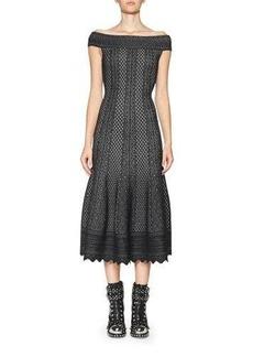 Alexander McQueen Jacquard Off-the-Shoulder Midi Dress