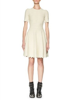 Alexander McQueen Jacquard Short-Sleeve Fit & Flare Dress