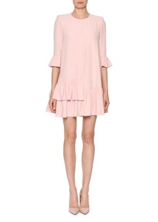 Alexander McQueen Jewel-Neck 3/4-Sleeve A-Line Crepe Dress with Flounce Hem