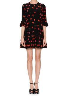 Alexander McQueen Jewel-Neck Petal-Print 3/4-Sleeve A-Line Dress
