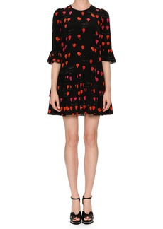 Alexander McQueen Jewel-Neck Petal-Print 3/4-Sleeve A-Line Dress
