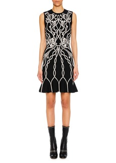 Alexander McQueen Jewel-Neck Sleeveless Art-Graphic Cocktail Dress w/ Peplum Hem