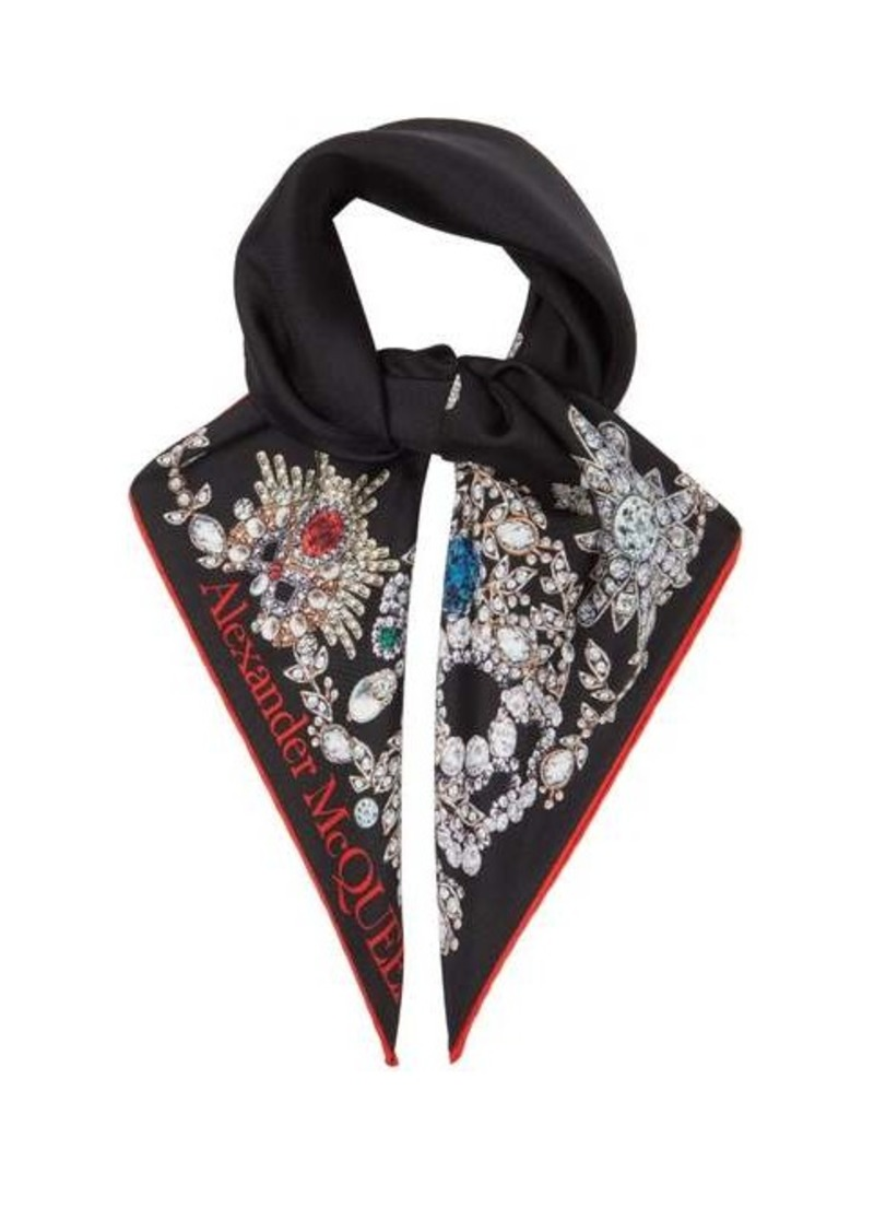 Alexander McQueen Jewel-print silk-faille scarf