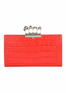 Alexander McQueen Jeweled Four Ring Crocodile-Embossed Clutch Bag  Red