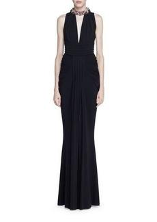 Alexander McQueen Jeweled-Halter Sleeveless Gown