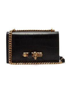 Alexander McQueen Jewelled crocodile-effect leather shoulder bag