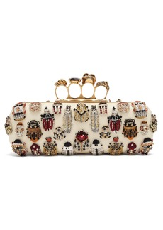 Alexander McQueen Knuckle crystal and bead-embroidered clutch