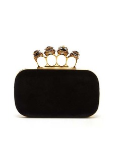 Alexander McQueen Knuckle-jewelled velvet clutch