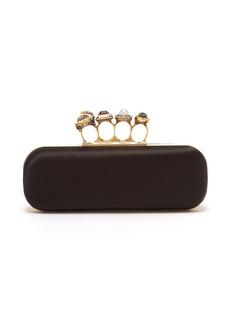 Alexander McQueen Knuckle satin box clutch