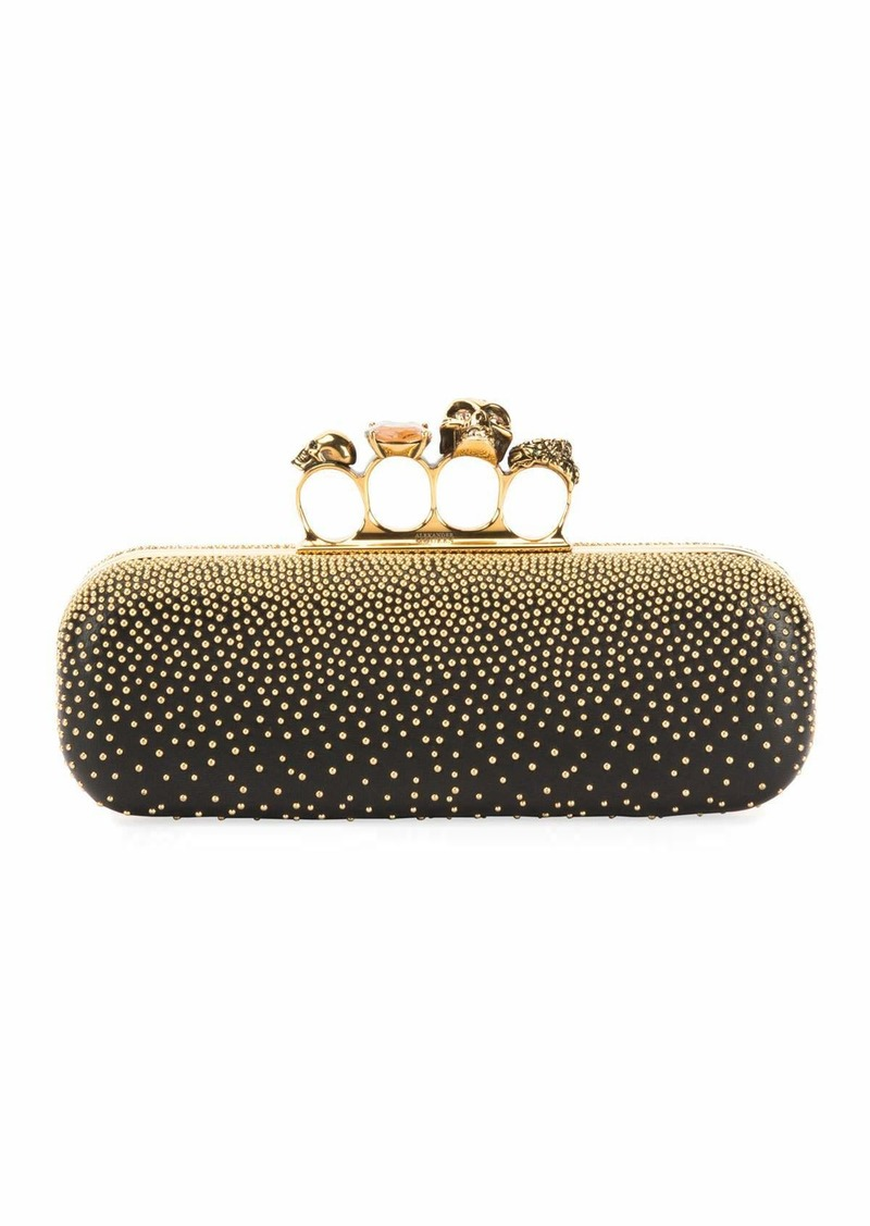 Alexander McQueen Knuckle Studded Leather Box Clutch Bag  Black