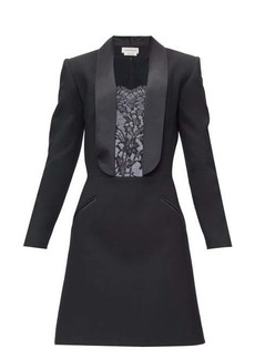 Alexander McQueen Lace-insert tailored wool mini dress
