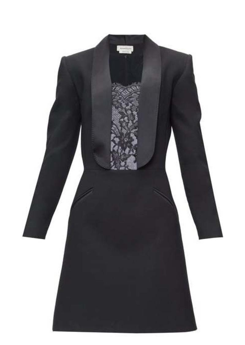 Alexander McQueen Lace-insert tailored wool-blend mini dress