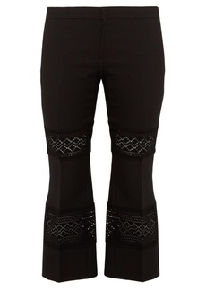 Alexander McQueen Lace-insert wool-blend cropped trousers