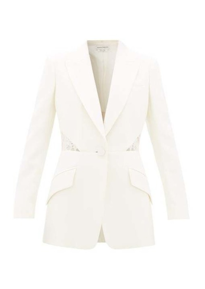 Alexander McQueen Lace-inset single-breasted wool-blend crepe jacket