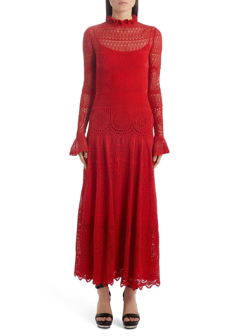 Alexander McQueen Lace Pointelle Long Sleeve Maxi Sweater Dress