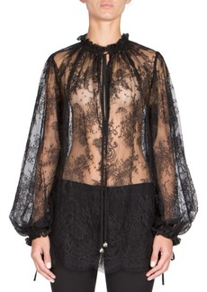 Alexander McQueen Lace Sheer Blouse