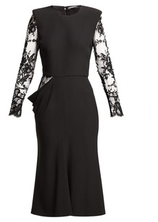 Alexander McQueen Lace sleeve crepe midi dress