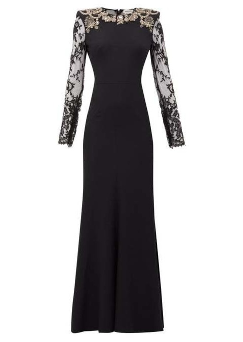 Alexander McQueen Lace-sleeve crystal-embellished crepe gown