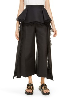 Alexander McQueen Lace Trim Peplum Cotton & Silk Culottes
