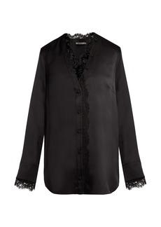 Alexander McQueen Lace-trim silk-satin blouse