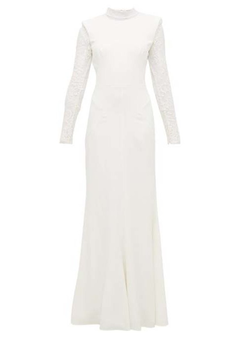 Alexander McQueen Lace-trimmed leaf-crepe gown