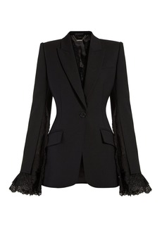 Alexander McQueen Lace-trimmed single-breasted blazer