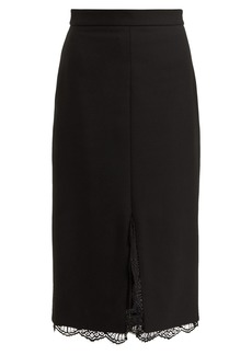 Alexander McQueen Lace-trimmed wool-blend pencil skirt