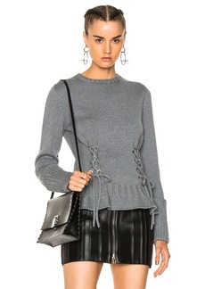 Alexander McQueen Lace Up Chunky Knit Sweater