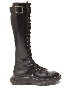 Alexander McQueen Lace-up patent-leather military boots