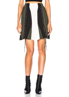 Alexander McQueen Lace Up Ribbed Mini Skirt
