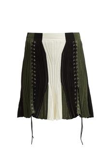 Alexander McQueen Lace-up silk-blend skirt