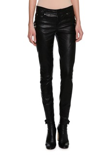 Alexander McQueen Lambskin Leather Biker Leggings