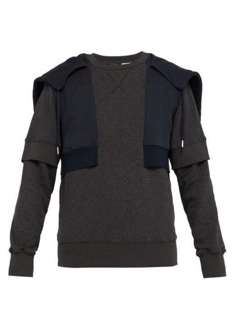Alexander McQueen Layered-effect cotton hooded sweatshirt