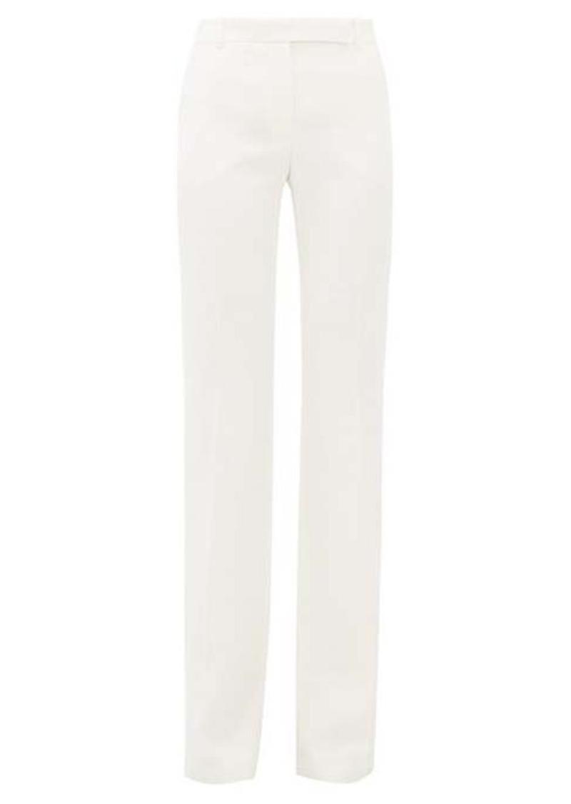 Alexander McQueen Leaf flared-cuff crepe trousers