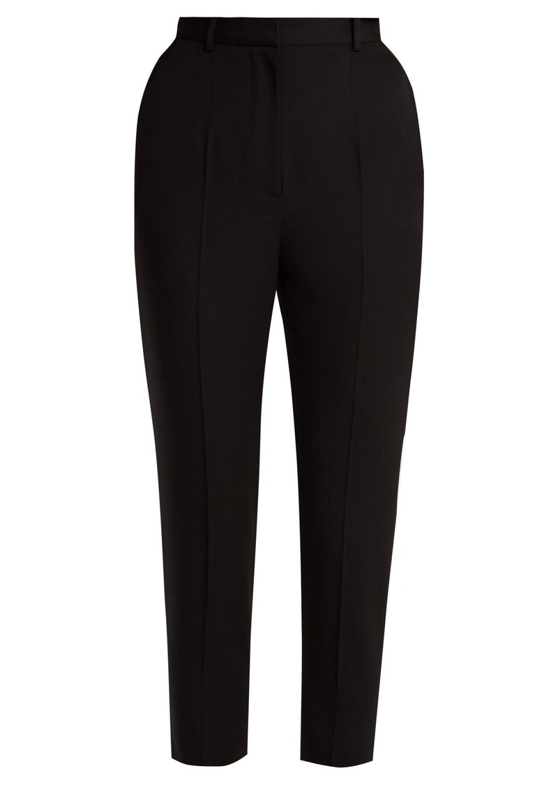 Alexander McQueen Leaf high-rise cigarette-leg crepe trousers